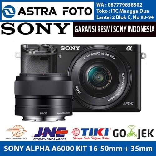 harga Sony alpha a6000 kit 16-50mm + e 35mm f/1.8 oss + 32gb extreme +filter - putih Tokopedia.com