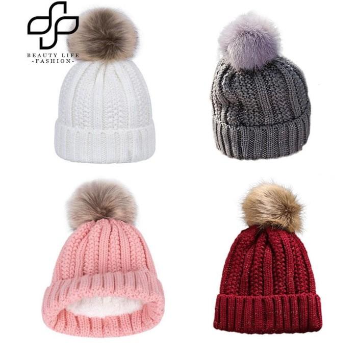 Harga Topi Kupluk Bulu All Size Anak Dewasa Unisex Winter Wool Beanie Hat Tokopedia