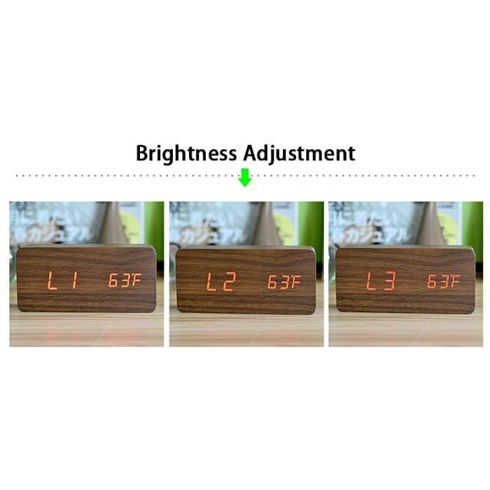 Jual Jam Meja Kayu LED Wood Clock with Alarm + Temperature ... e2d8da1905