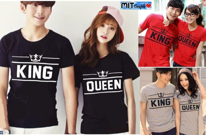 Baju Couple Kaos Couple Baju Pasangan Soulmate NEW KING QUEEN - Merah