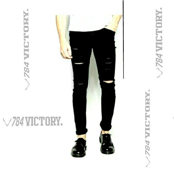 harga Knee black ripped jeans-celana jeans sobek pria Tokopedia.com