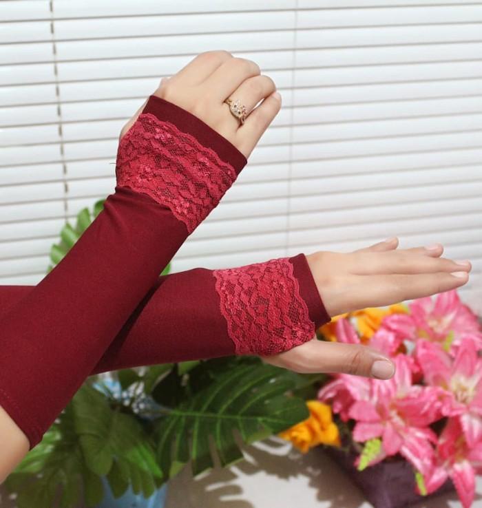 Nafiza - Handsock/Manset Renda Garis - Merah