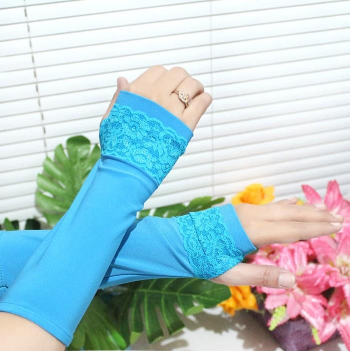 Nafiza - Handsock/Manset Renda Garis - Turquoise