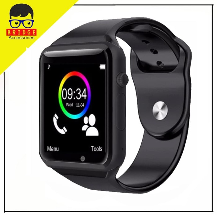 Foto Produk Smartwatch A1 / Smart watch U10 Support Sim Card & Memory Card - Murah - Hitam dari Bridgeacc