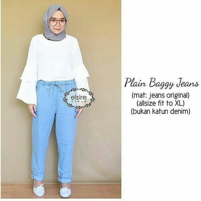 Jual Plain Baggy Jeans Baggy Jeans Celana Jeans Longgar