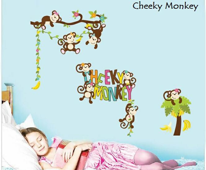 harga Walksticker wallstiker wall sticker stiker anak cheeky monkey monyet Tokopedia.com