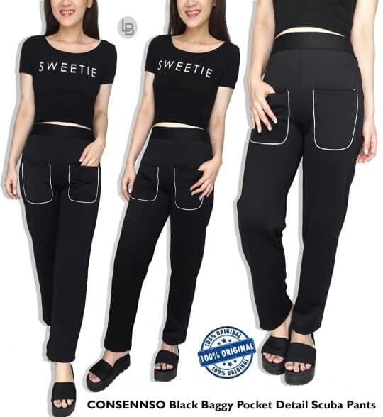 Foto Produk Consenso Black Baggy pocket Detail Scuba Pants Branded dari Baju Branded Jakarta