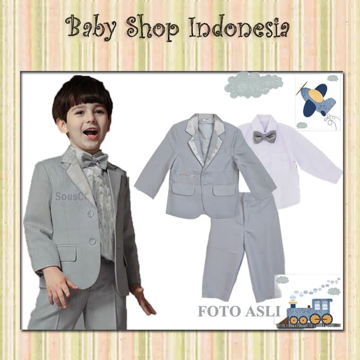 Jas Anak Murah Setelan Tuksedo Anak Jas Bayi Baju Pesta Grey 567 - 7tahunan