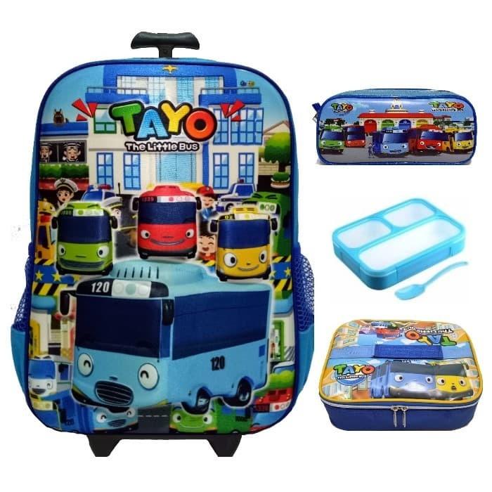 harga Tas sekolah trolley anak sd tayo blue + lunch box set + tempat pensil Tokopedia.com