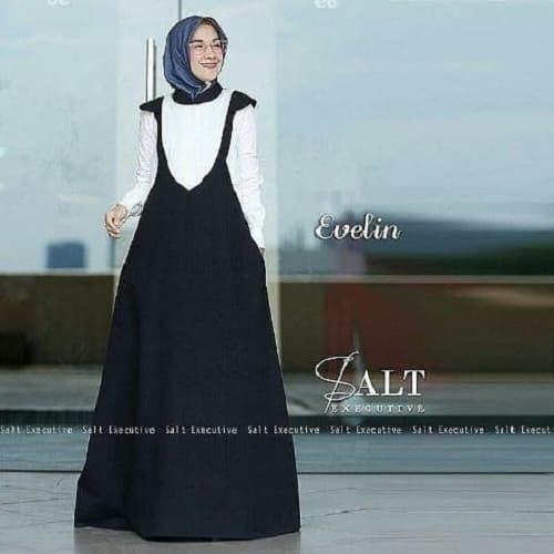 Jual Gamis Evelin Dress Baju Muslim Casual Wanita Gaun Pesta Modern