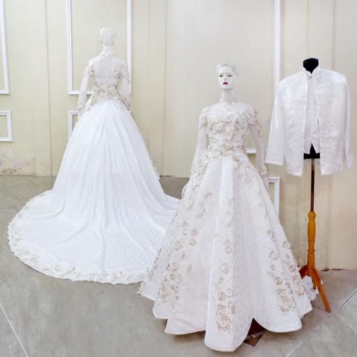 Jual Gaun Pengantin Resepsi Eksklusif Mewah Modern Floral Set Putih Kota Surakarta Kebaya Solo Tokopedia