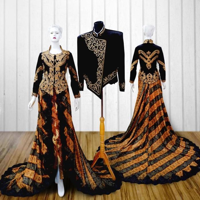 Jual Kebaya Pengantin Akad Resepsi Bludru Batik Modern Set Hitam Emas Kota Surakarta Kebaya Solo Tokopedia