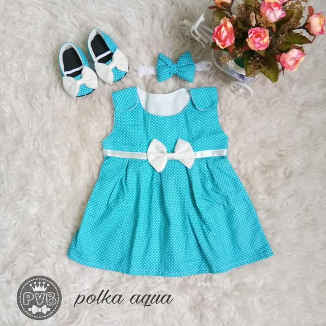 harga 1 set dress baju bayi 0 - 1 tahun / (dress+bandana+prewalker/sepatu) Tokopedia.com