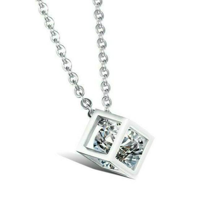 Kalung single silver necklace diamond…