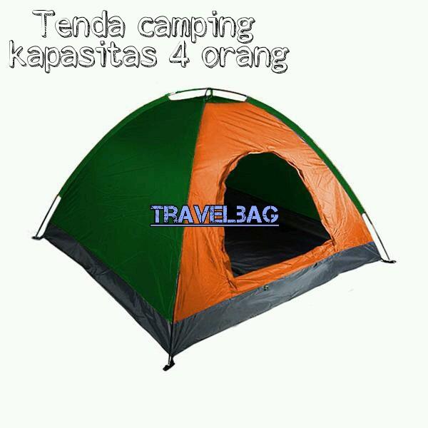 Tenda camping dome kapasitas 4 orang plus alas terpal dengan jendela