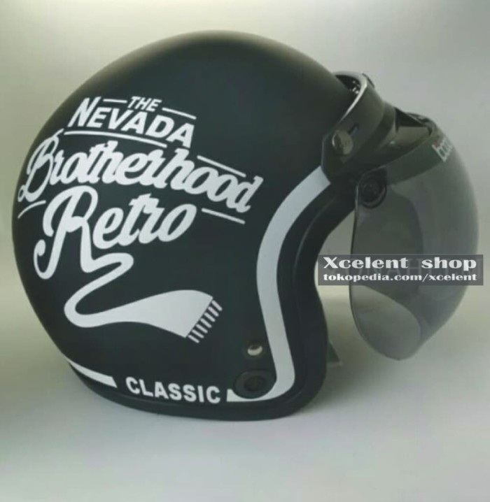 HELM COUPLE Bogo Retro NEW NEVADA Hitam Doof Putih Hitam Doff Merah 2
