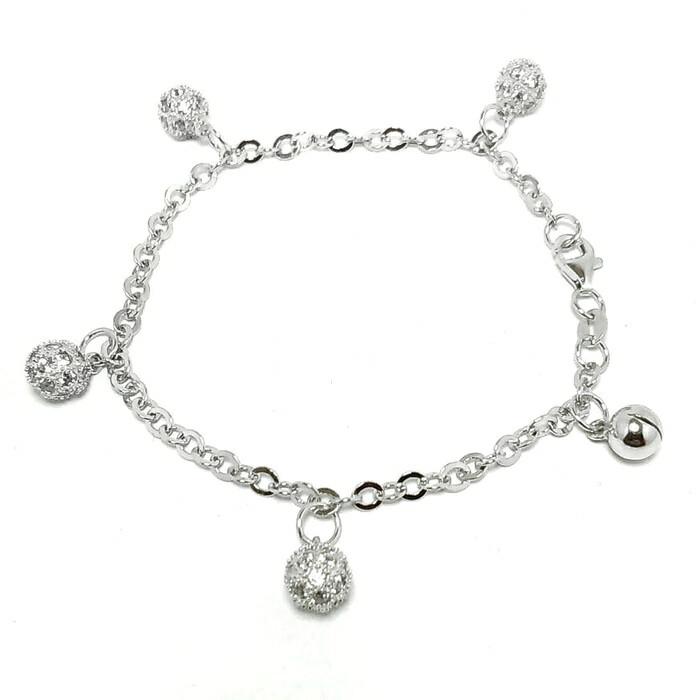 harga Gelang tangan bola perak 925 lapis emas putih/perhiasan silver 925 Tokopedia.com