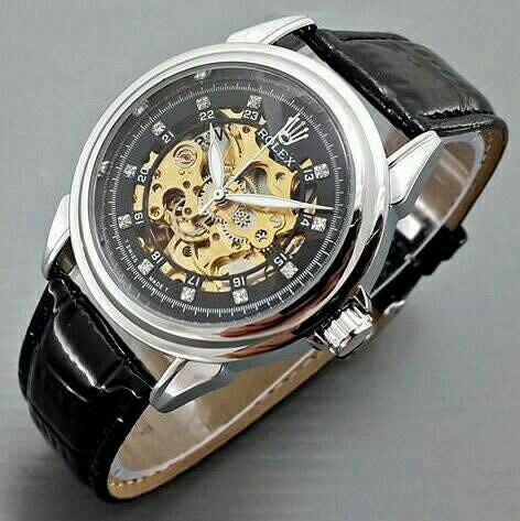 harga Jam tangan rolex automatic / otomatis silver-black kulit hitam Tokopedia.com