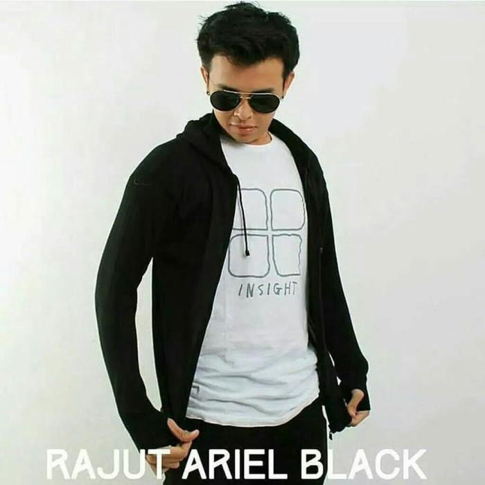 Jaket Pria Murah Hoodie Zipper Rajut ARIEL GREENLIGHT GRADE ORI - Hitam, L