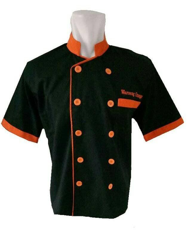 Baju koki hitam kombinasi krah orange