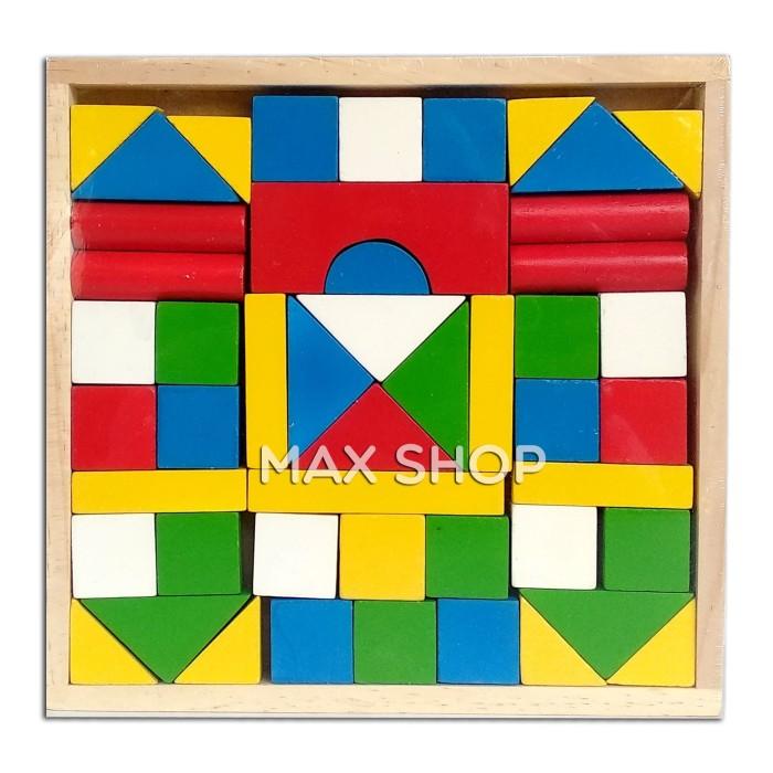 Foto Produk Mainan Anak Balok Kayu - Wooden Block - Susun Rumah dan Bangunan Kayu dari MAXSHOP-ONLINE