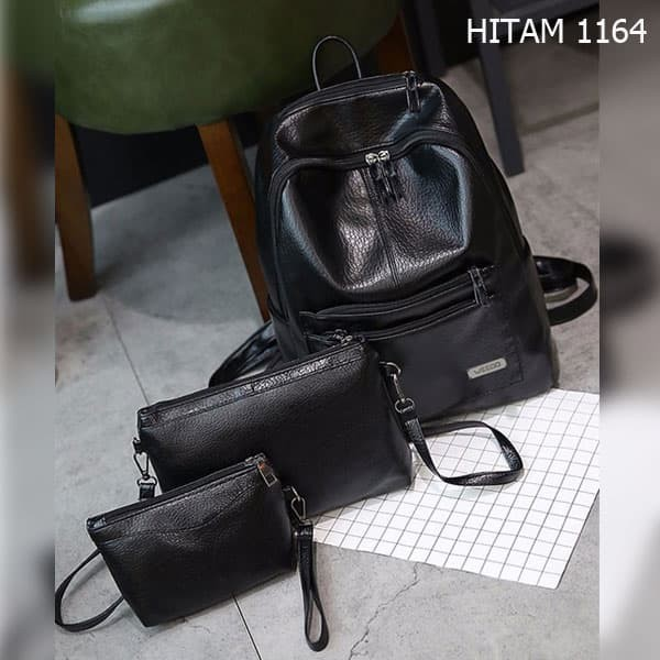 Jual set 3 tas ransel sekolah kuliah kerja wanita hitam murah import ... 8bff1f3241