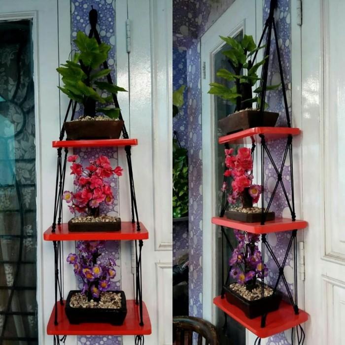 Desain Dapur Merah Hitam  jual rak dinding gantung tiga susun kotak dapur kayu merah tali hitam jakarta selatan malaamalaaa tokopedia
