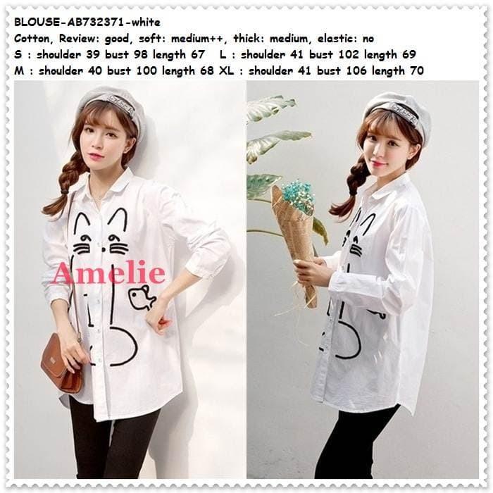 harga Baju atasan kerja kemeja putih white blouse wanita korea import tunik Tokopedia.com