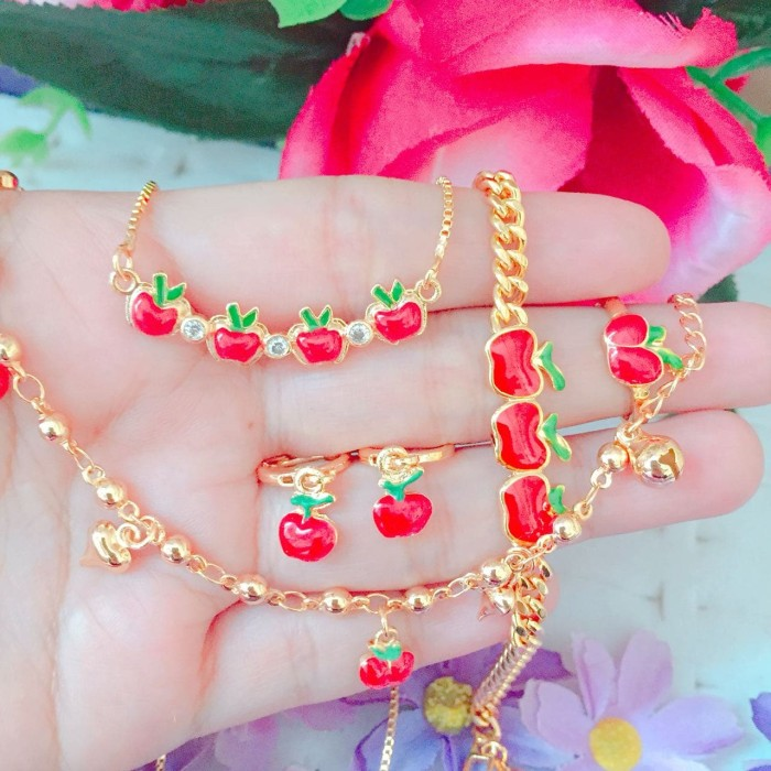 Set perhiasan Xuping anak lapis emas 18k hello kitty micky mouse apel