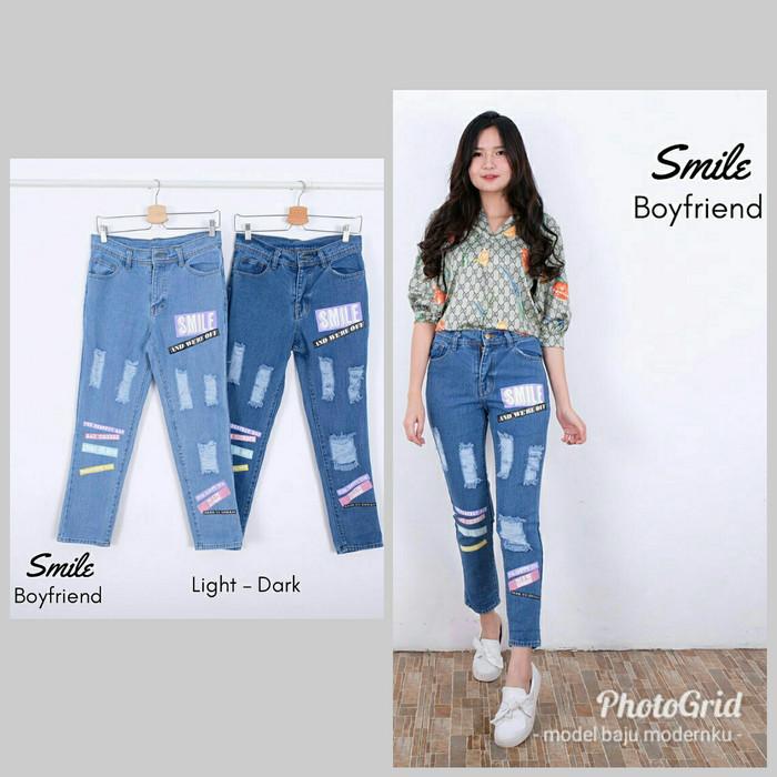 smile boyfriend celana jeans wanita sobek ripped - Light, M