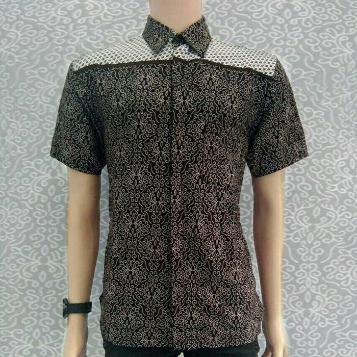 Baju Batik Pria Kemeja Batik Hem Batik Hitam kombinasi khas Pekalongan -  Hitam 7dc77ec438