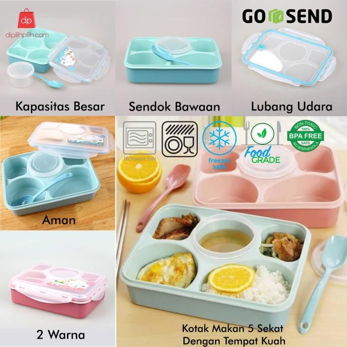 LUNCH BOX 5 SEKAT / Kotak Makan / Tempat Makan Sup Anti Tumpah Yooyee - Merah Muda