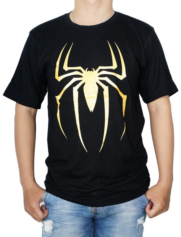Kaos T-Shirt Distro Pria Spiderman Logo - hitam Emas