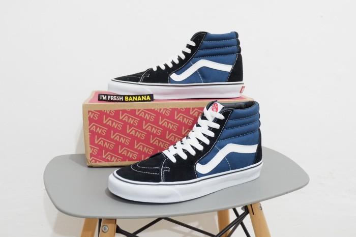 4cdcf64373 Jual sepatu vans sk8 sk 8 hi black navy blue high dt premium biru ...