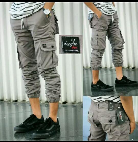 ... Celana Jogger Cargo Pria Jogger Murah fashion pria Abu Abu Muda 34