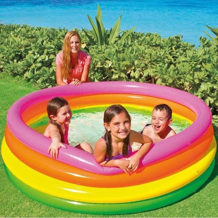 INTEX Kolam Renang Pompa Anak Besar | Sunset Glow 4 Ring Rainbow Pool