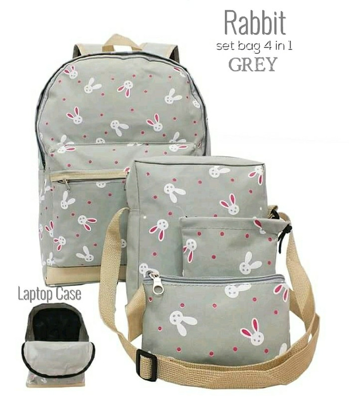 db35dc690ff Jual Tas Ransel Backpack Wanita Set 4 in 1 4M4T5S3-ST Bahan D300 ...