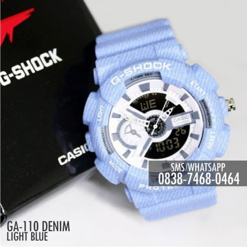 12c03d8c07448 Jam Casio G-Shock  amp  Baby-G GA-110 Denim Light Blue Single Couple