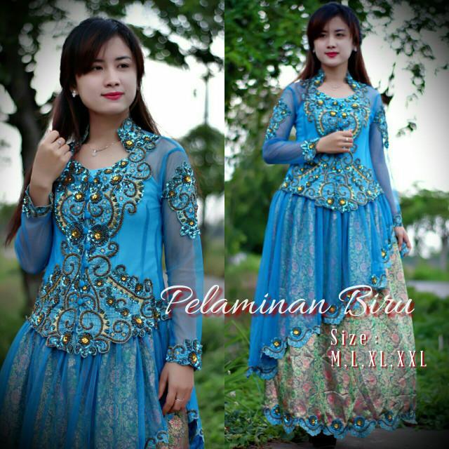 harga [rvy1173 biru turkish] gaun kebaya barbie songket Tokopedia.com