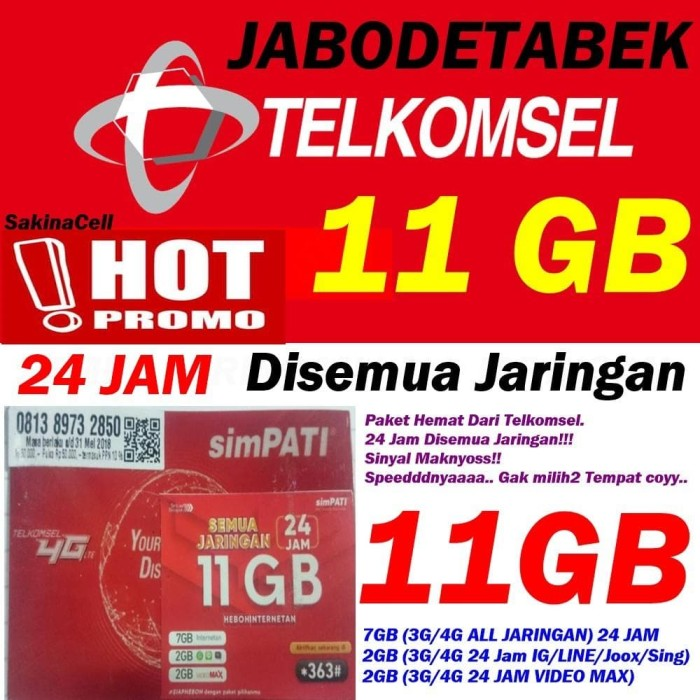 Jual Perdana Kuota Internet Telkomsel Simpati 11gb 24jam New Murah
