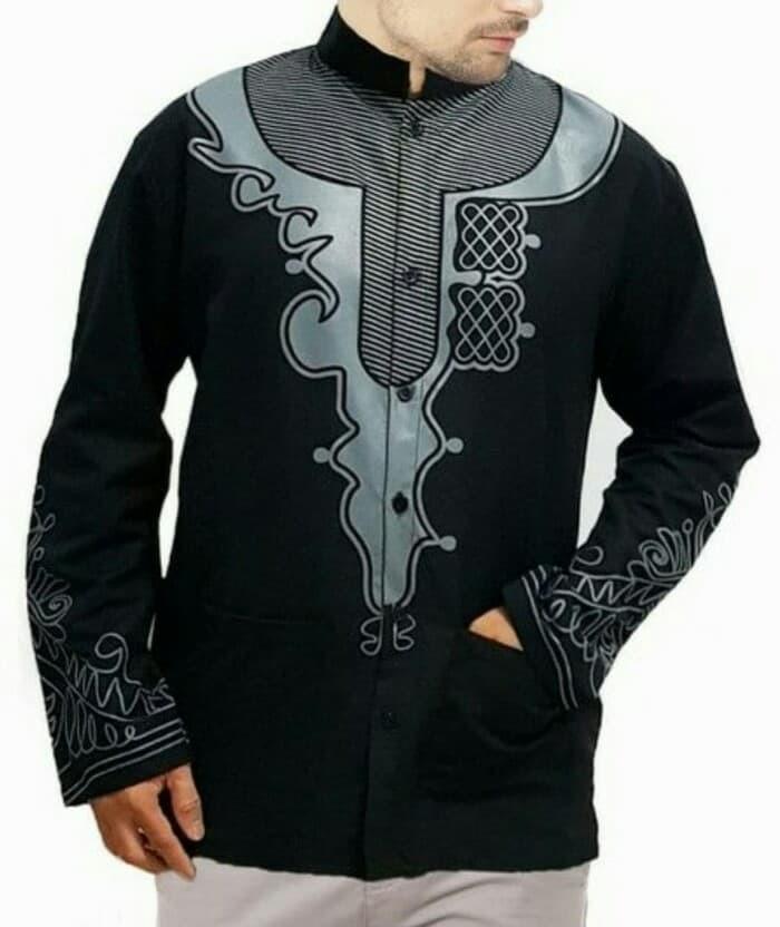Outfit Jubah Jasko Hijab Muslim Baju Koko Black Panther Hitam Printing 3