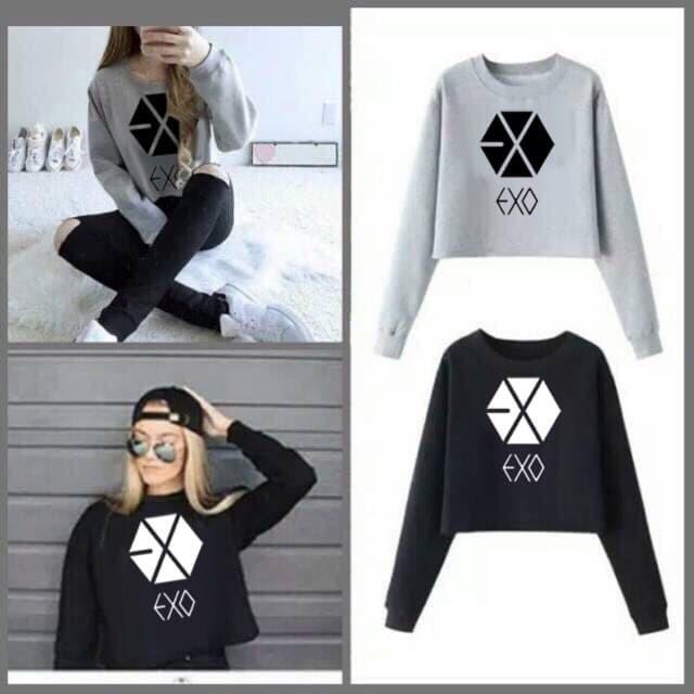 harga Baju atasan damai - sweater exo crop dua warna terbaru Tokopedia.com