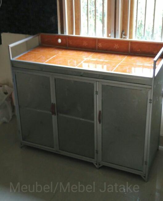 Meja Kompor 3 Pintu Rak Piring Dapur Model Rata Keramik Aluminium