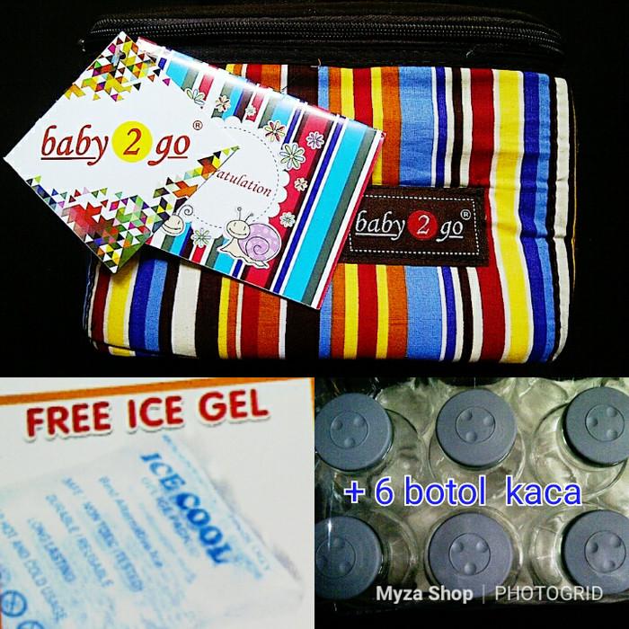 Cooler bag thermal bag baby scots + ice gel + 6 pc botol kaca asi
