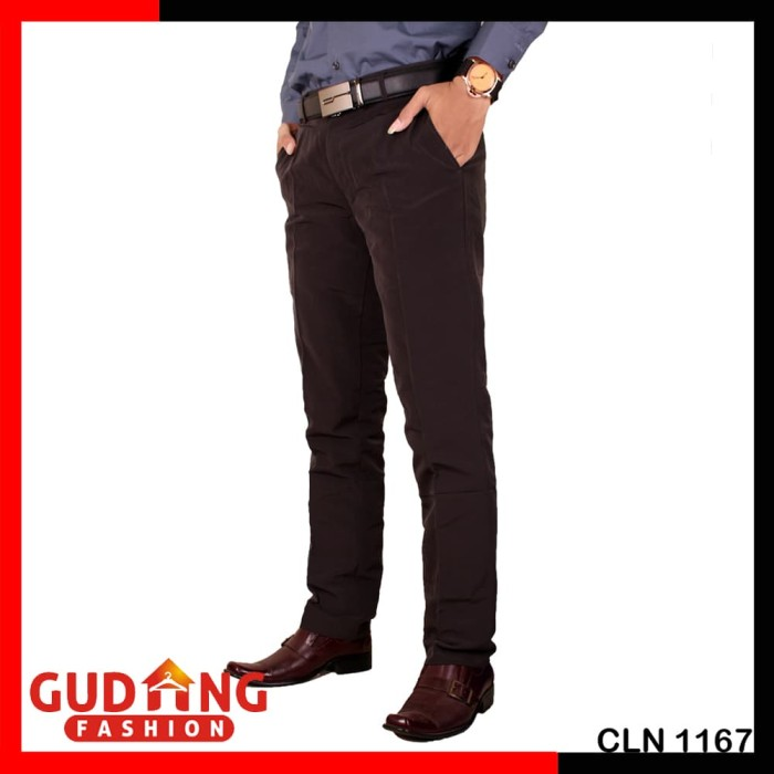 Celana Slim Fit Pria Formal CLN 1167 - Abu -abu Tua, 36