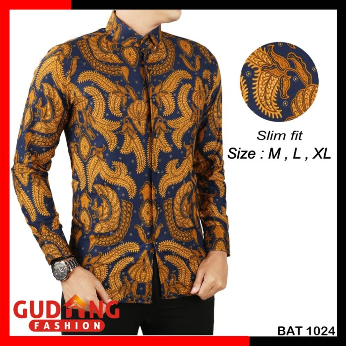 Jual Baju Batik Modern Pria BAT 1024 - Biru dc131b8361