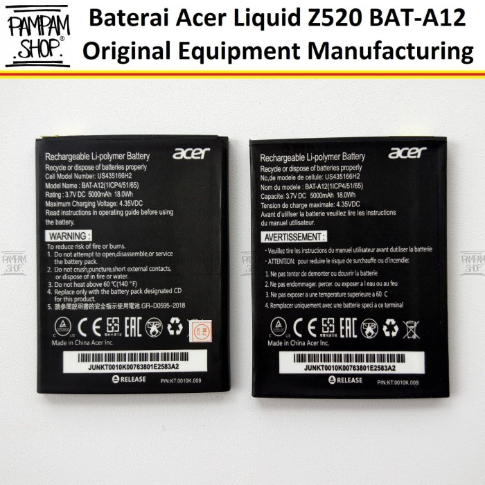 harga Baterai handphone acer liquid z520 bat-a12 bat a12 original oem batre Tokopedia.com
