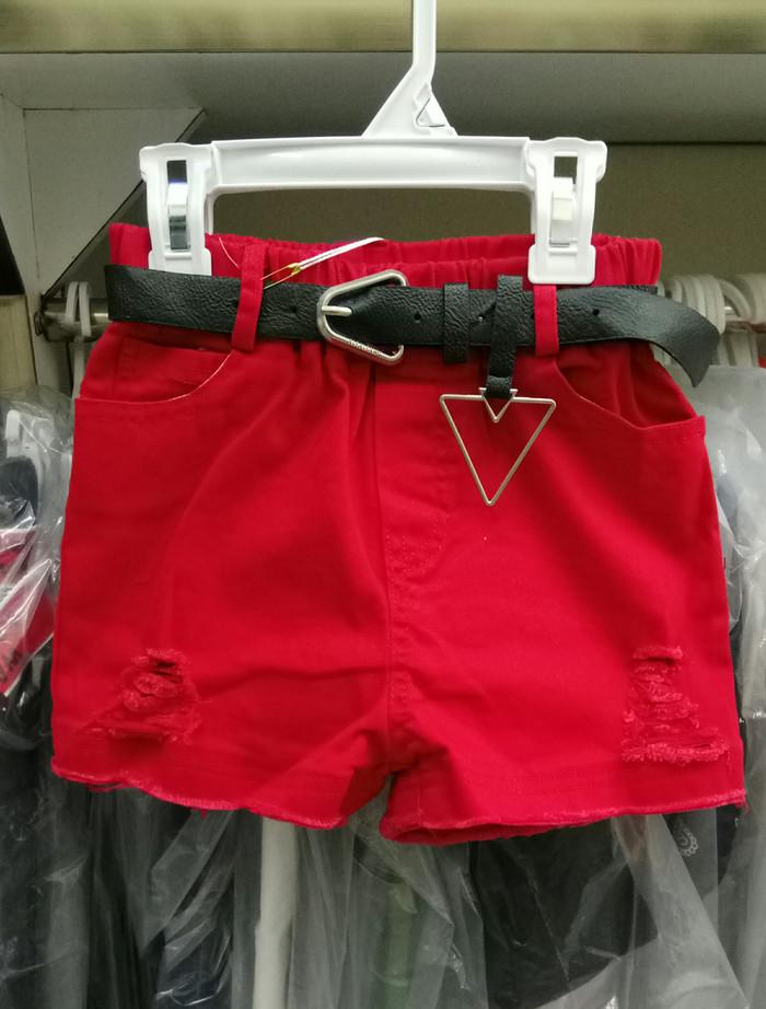 harga Celana pendek sobek jeans anak cewek import hot pant ripped red belt Tokopedia.com