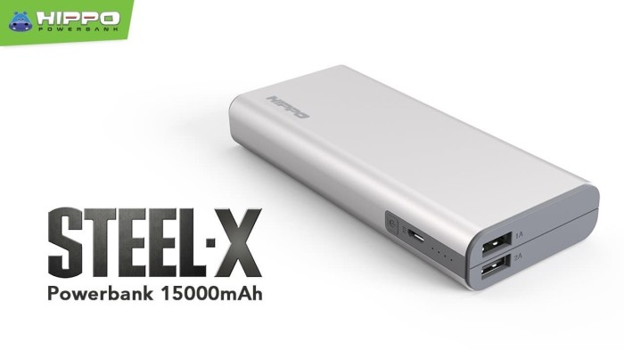 PowerBank Power Bank HIPPO Steel-X 15000mAh Original 100% Powerbank - Grey