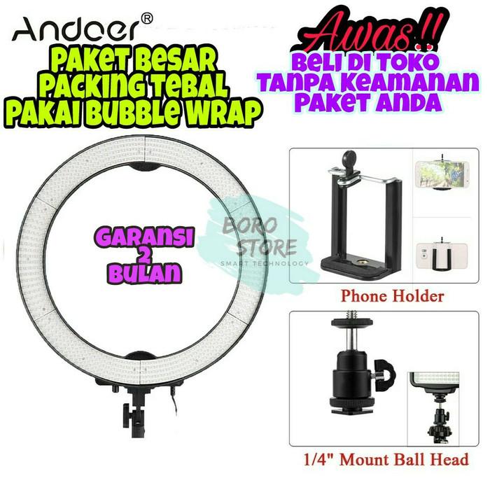 Andoer la-650d 5500k 40w 600 led ring light lampu studio foto makeup